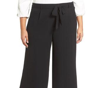 Tie Waist Wide Leg Cropped Pants